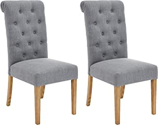 Red Hook Serena Solid-Wood Tufted Upholstered Armless Dining Chair - Set of 2, Cosmopolitan Grey