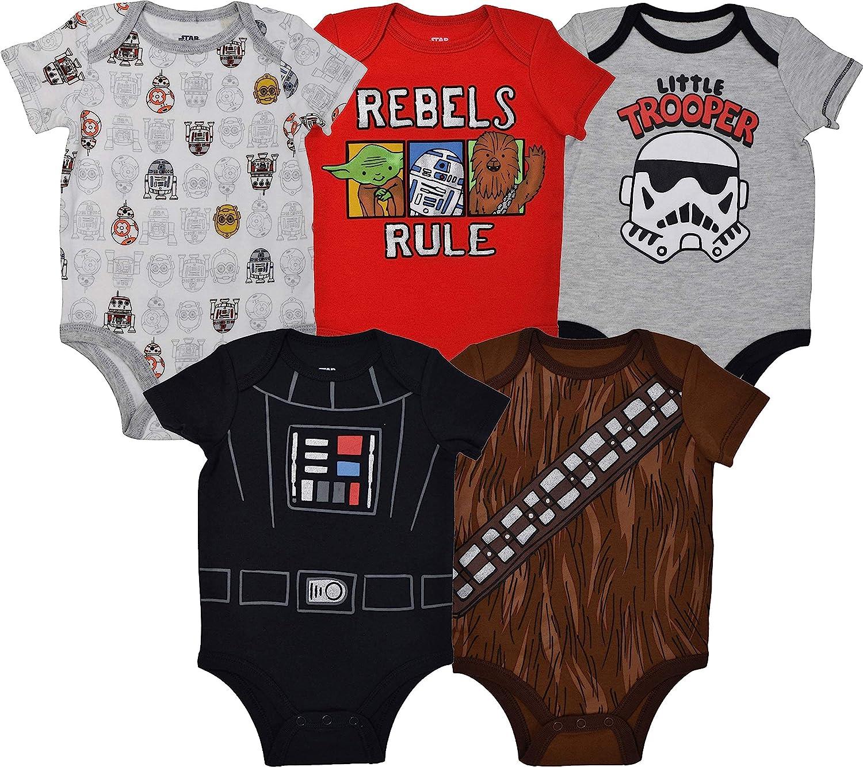 Charlotte Mall STAR WARS Baby New item Boys 5 Pack Bodysuits