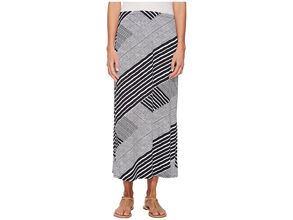 Tribal Printed Jersey Maxi Skirt with Side Slit (Ink) Women