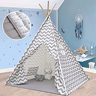 Kids Teepee Tent for Boys, Children with Mat- Play Tent for Indoor & Garden, (Grey Chevron 160cm Tall) by Tiny Land