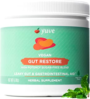 Yuve Gut Health Restore for Leaky Gut Repair Supplement - Vegan & Non-GMO - Bloating, Heartburn, Constipation, Gas, SIBO Relief - with L-Glutamine, Licorice, Aloe - Pharmaceutical Grade - 30 Servings