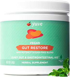 Yuve Gut Restore for Leaky Gut Repair Supplement - Vegan & Non-GMO - Bloating, Heartburn, Constipation, Gas, SIBO Relief - Contains L-Glutamine, Licorice, Aloe - Pharmaceutical Grade - 30 Servings