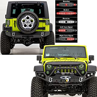 Restyling Factory -Rock Crawler Full Width Front Bumper w/ LED Lights Mount & Winch Plate+Rear Bumper w/ 3rd Brake, Reverse LED RED Light Bar & 2
