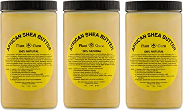 Plant Guru African Shea Butter 32 oz. (3 Pack) Raw Unrefined Grade A 100% Pure Natural Gold/Yellow Body Butters, Lotion, Cream, lip Balm & Soap Making Supplies, Eczema & Psoriasis Aid, Stretch Marks …