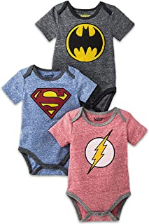 Baby Boys Newborn Infants Multi Pack DC Comics, Superman, Batman and The Flash Short Sleeve Costume Onesie Bodysuit