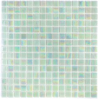 URBN Contemporary Seafoam Green Iridescent Glass Mosaic Tile for Kitchen and Bath - Sample Tile (4-1/3 inches x 4-1/3 inches, 0.13 SQ FT)