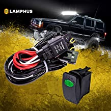 LAMPHUS 12V 40A Off Road LED Light Bar Relay Wiring Harness Kit for ATV/Jeep - Green ON/Off Switch