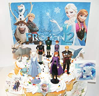 Frozen 2 Movie Deluxe Cake Toppers Cupcake Decorations 13 Set with 10 Figures, F2 Sticker, Tattoo, ToyRing Featuring Olaf, Anna, Elsa and Fun NewCharacters!