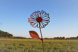Metal Rusty Daisy Garden Stake 22 Inches Tall