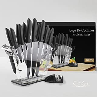 D´Ardin 17 Pieces Kitchen Knives Set, 13 Stainless Steel Knives + Acrylic Stand, Scissors, Peeler and Knife Sharpener ( St...