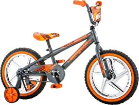 Mongoose Skid Boy's Freestyle BMX Bike with Training Wheels, 16-Inch Wheels, Grey