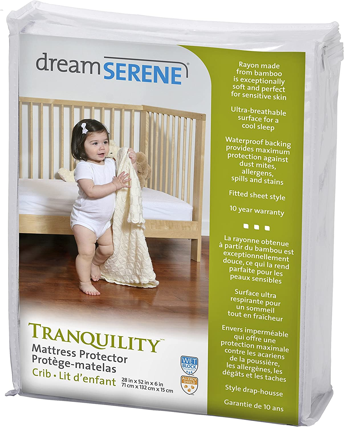 DreamSerene Tranquility Hypoallergenic, Waterproof and Breathable Mattress Predector, Crib, White