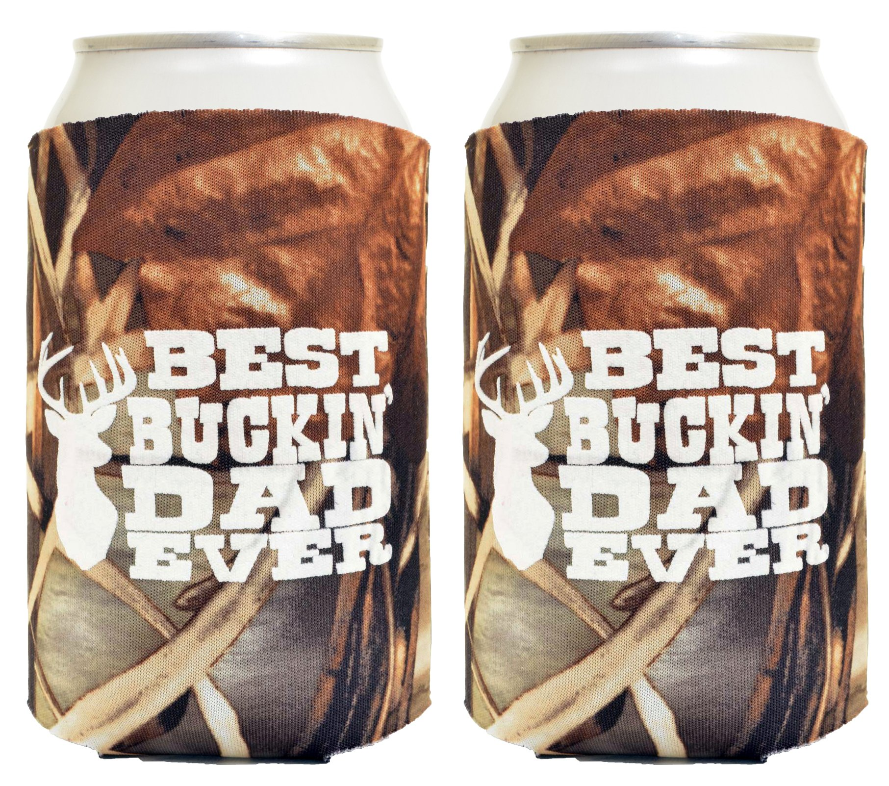 Funny Beer Coolie Best Buckin' Dad Father's Day Gift for Dad 2 Pack Can Drink Coolers Coolies Real Tree Max 4