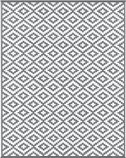 Lightweight Outdoor Reversible Plastic Nirvana Rug (8 X 10, Grey/White)