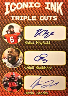 2019 Iconic Ink Triple Football Card - BAKER MAYFIELD, ODELL BECKHAM, Jarvis Landry-Cleveland Browns