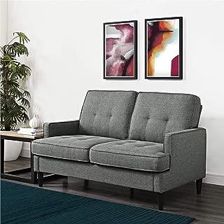 REALROOMS Dana Mid-Century Modern Loveseat, Living Room Couch, Gray