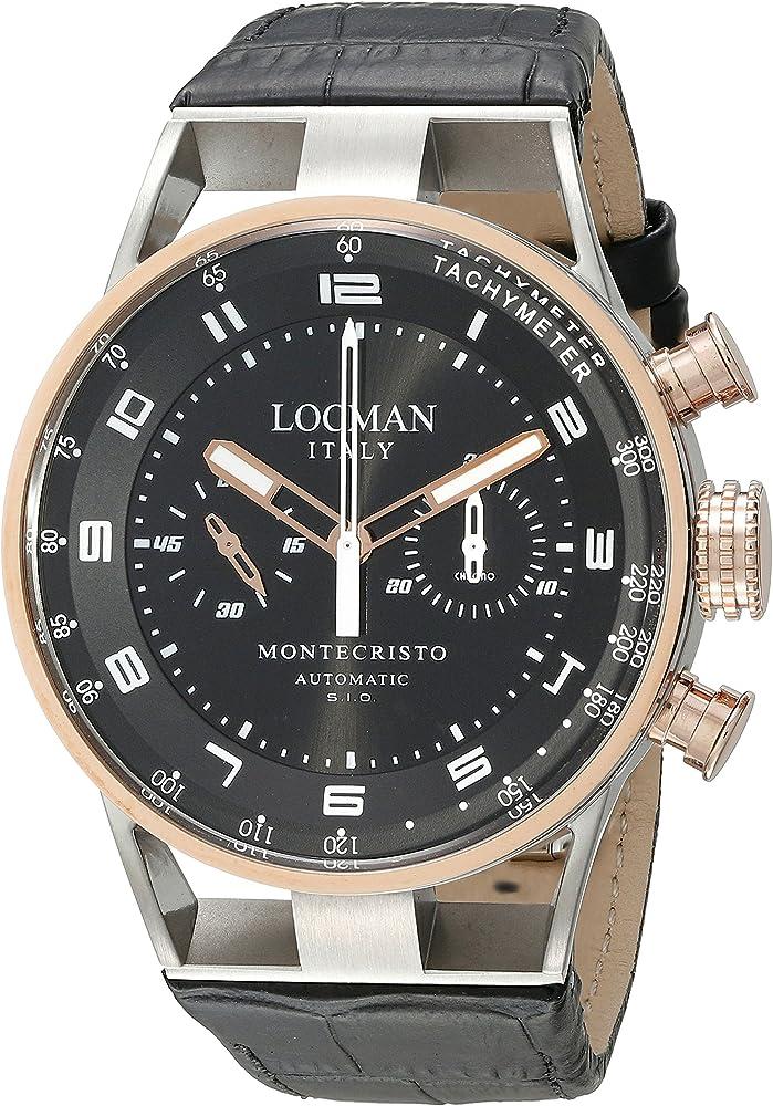 Locman orologio cronografo automatico  da uomo in acciaio, lucido e satinato, e titanio 0514V13-RNBKWPSK