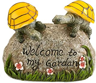 solar powered 2 baby turtles on stone outdoor accent lighting led garden light decor