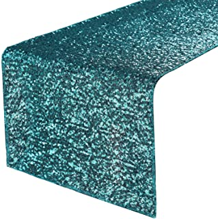 PONY DANCE Glitzy Table Runner - Sparking Sequins Table Runners for Events New Year/Christmas/Party/Birthday/Wedding/Banquet Decoration, 12 x 108 inches, Teal