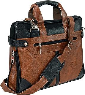 Storite PU Leather 14 inch Laptop Shoulder Messenger Sling Office Bag for Men & Women – (40 x 29 x 6 cm, Black/Brown)