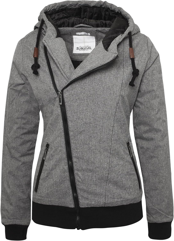 Sublevel Damen Winterjacke mit Kapuze im Melange Look Look Look B075CM66G3  Ausgewählte Materialien 8acefc