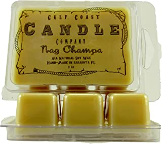 2 Pack Nag Champa Wax Melts – Meltables by Gulf Coast Candle Company –Highly Scented –3oz per pack for a total of 6 ounces and 50+ hours of fragrant scent throw in this two pack.