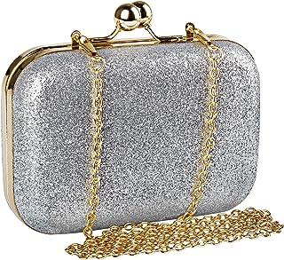 Womens Mini Evening Bag,Beautyshow PU Glitter Shiny Bling Shoulder Bag Cross Body Messenger Bag Kiss Lock Dinner Handbag With Chain Strap (Silver)