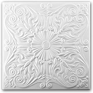Azulejos de techo de espuma de poliestireno 0876 (paquete de 104 pc / 26 metros cuadrados) Blanco