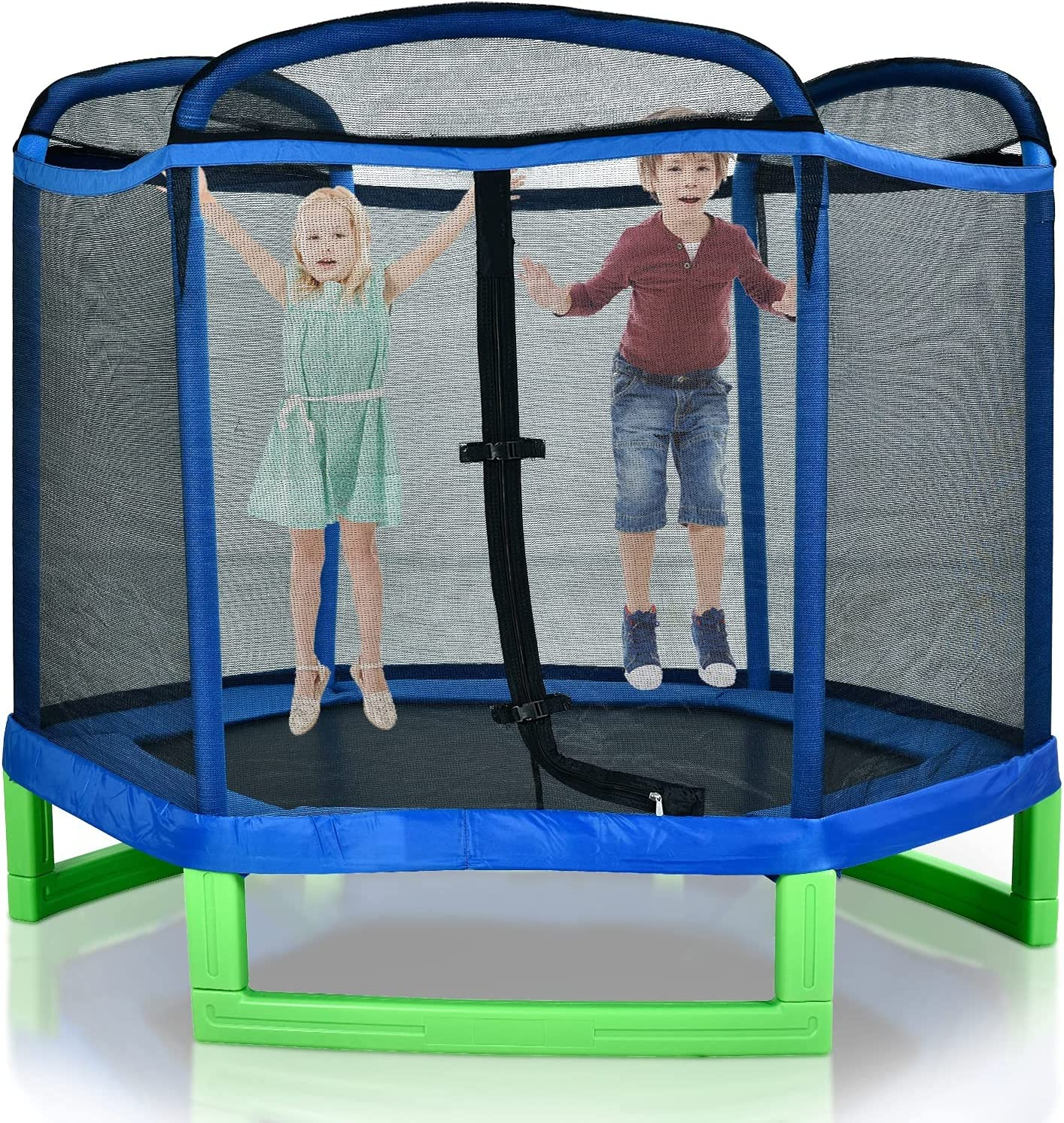 7ft Cheap SALE Start Hexagonal Outer Albuquerque Mall Net Trampoline Kids Outdoor with Enclos for