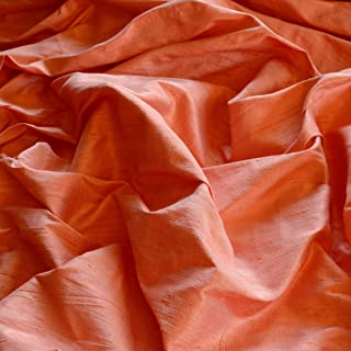 """44"""" Wide - Iridescent Coral Pink Dupioni Silk, 100% Silk Fabric, by The Yard"""