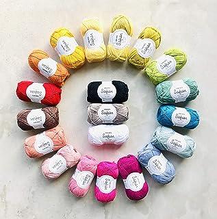 DROPS Design 1kg (20 x 50g) 4ply 100% Combed Egyptian Cotton Yarn Pack Safran - Oeko Tex Standard 100 Certified 20 pcs Rai...