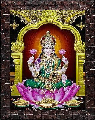 Indianara Set of 3 Ashtalakshmi Framed Painting (3499GBNN) without glass 6 X 13, 10.2 X 13, 6 X 13 INCH