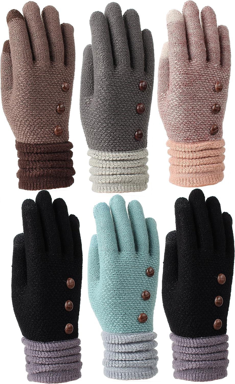 Women's Fleece Lined Acrylic Magic Glove with Touchscreen Technology 6 Pair