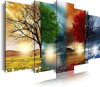 DekoArte - Cuadros Modernos Impresión de Imagen Artística Digitalizada | Lienzo Decorativo Para Tu Salón o Dormitorio | Estilo Paisaje Cuatro Estaciones del año Árboles Rojo | 5 Piezas 200 x100 cm XXL