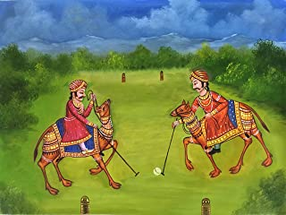 Camel Polo Rajasthani Painting Handmade Indian Sport Wall Decor Canvas Oil Art