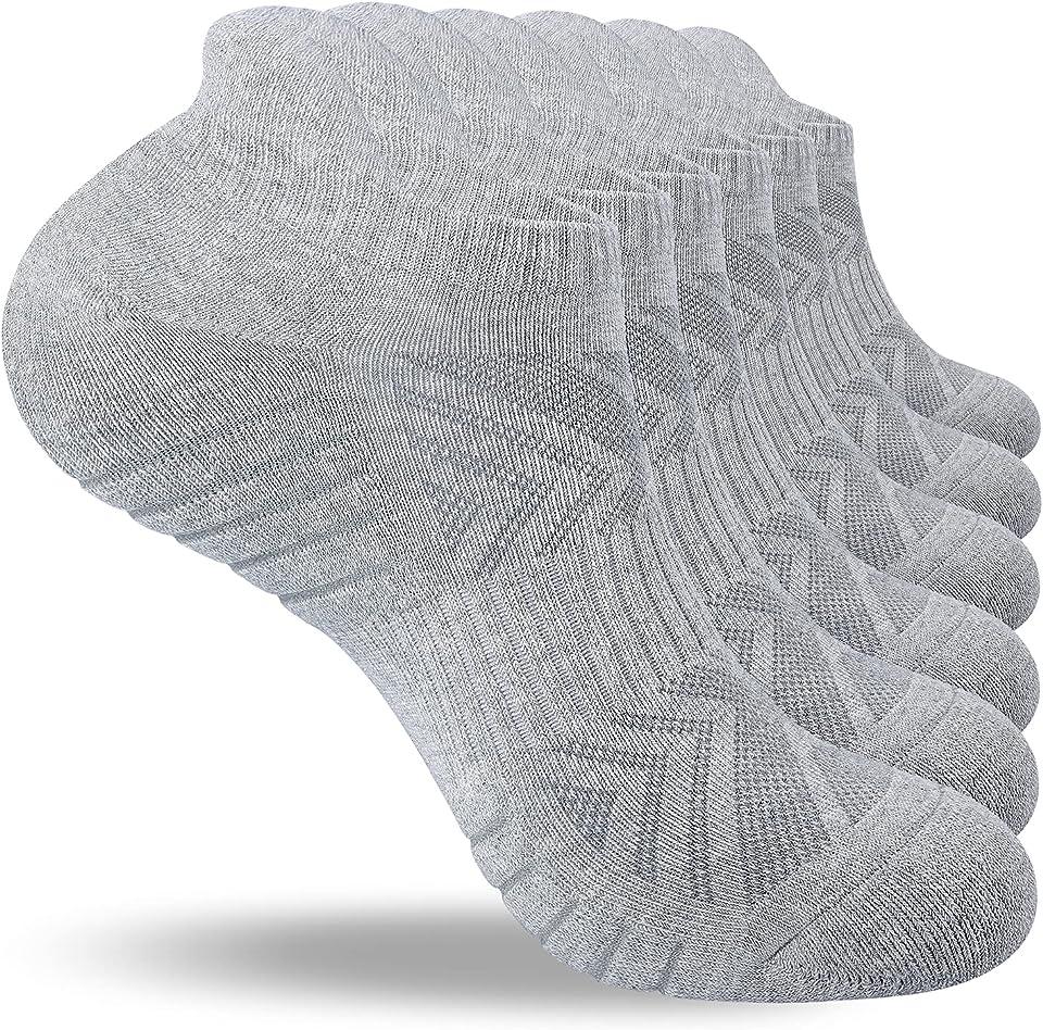 6 Pairs Running Socks Mens Womens Sports Socks, Anti Blister Socks Cushioned Ankle Trainer Socks for Men Women Multipack
