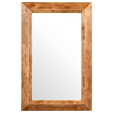 Stone & Beam Rustic Wood Frame Hanging Wall Mirror, 39.75 Inch Height, Natural