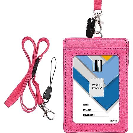 Porte-Badge, Wisdompro Double Face PU En Cuir PU Porte-Cartes Avec Badge Etui Portefeuille Avec Lanière/Sangle De Cou Détachable De 22 Pouces - Rose Vif (Vertical)