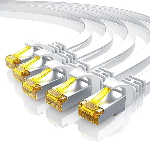 Primewire - 5 câbles réseau Cat 7 Plat de 25cm - Câble Ethernet - Gigabit réseau Local LAN 10 Gbps - Set de câbles Pa...