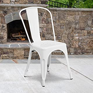 Flash Furniture Commercial Grade 4 Pack White Metal Indoor-Outdoor Stackable Chair