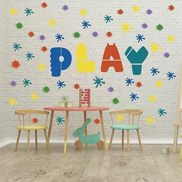 GULIGULI Paint Splatter Wall Decal Ink Splotch Vinyl Stickers For Toddler Boys Girls Kids Room Bedroom Playroom Decor