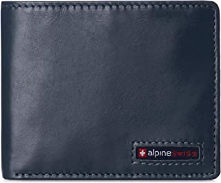 Alpine Swiss Mens Leather RFID Bifold Wallet 2 ID Windows Divided Bill Section Hampton Collection Glossy Nappa Teal