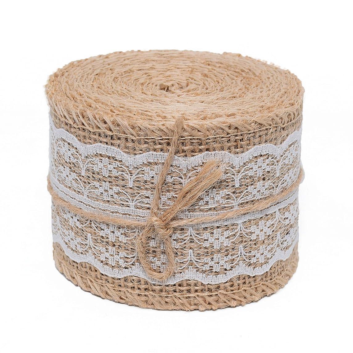 Burlap Ribbon Roll White Lace Trims Tape Natural Jute-2.34WIDTH156LONG INCH