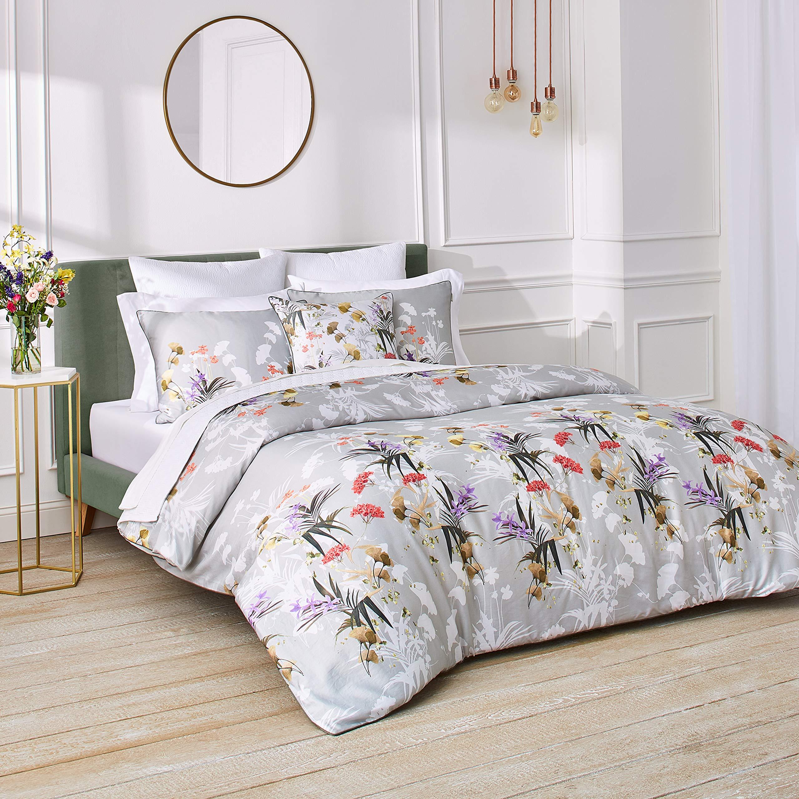 Ted Baker Highland 3 Piece Cotton Sateen Comforter Set W Shams Flower Design 92ʺw X 96ʺl Full Queen Green Home Kitchen