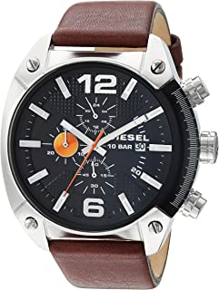 Diesel Men's Overflow Quartz Stainless Steel and Leather Chronograph Watch, Color: Silver-Tone, Brown (Model: DZ4204)