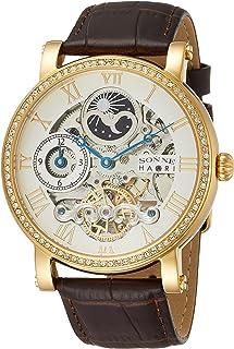 [ゾンネ]SONNE 腕時計 H013 ホワイト文字盤 スワロフスキーエレメンツ シースルーバック GMT機能 H013YGZ-SV メンズ