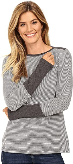 Mod-o-doc - Mini Stripe Long Sleeve Tee w/ Heather Contrast