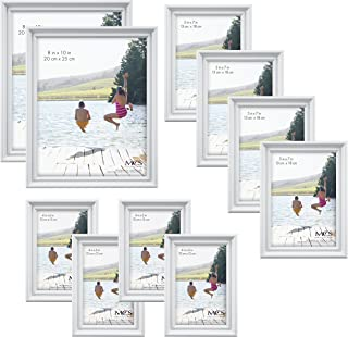 MCS 10pc Picture Frame Value Set - Two 8x10 in, Four 5x7 in, Four 4x6 in, White (65704)