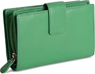 SADDLER Womens Real Leather Large Bifold Purse Wallet with Centre Zipper Coin Purse | Designer Ladies Clutch Perfect for I...