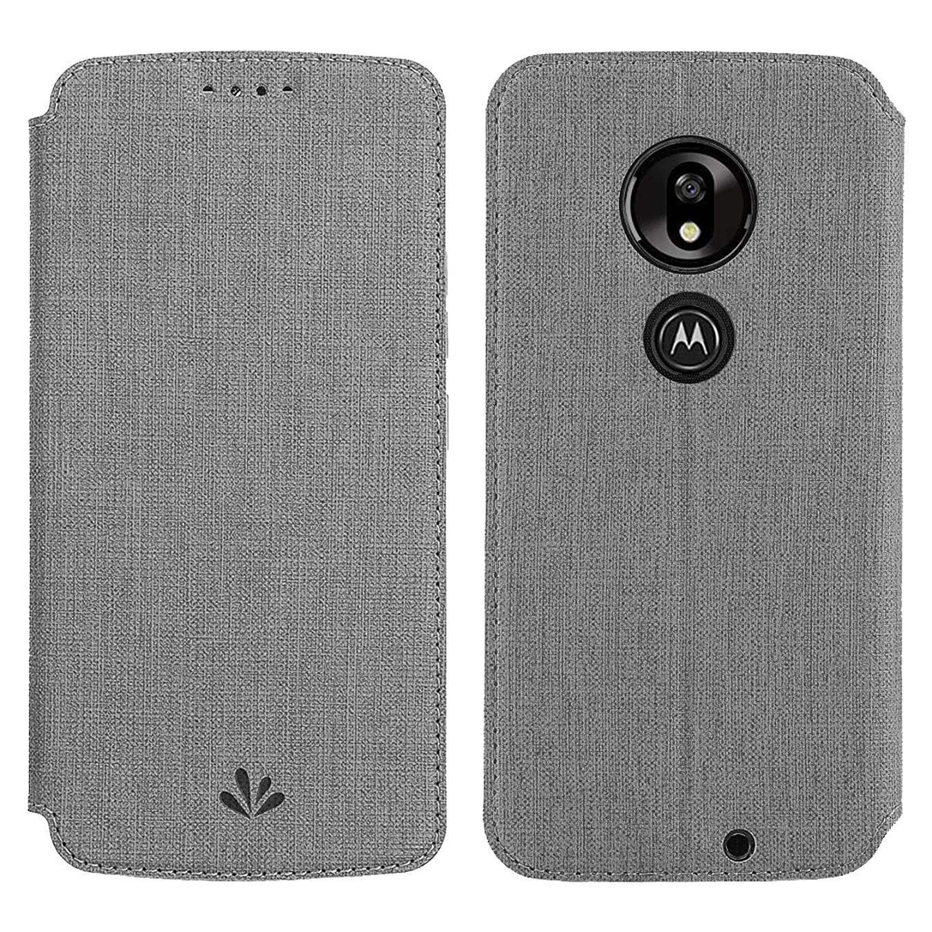 Simicoo Motorola Moto G7 Play Flip PU Leather Wallet Case Card Holster Stand Magnetic Cover Clear Silicone TPU Full Body Shockproof Pocket Thin Wallet Case for Moto G7 Play (Gray, Moto G7 Play)